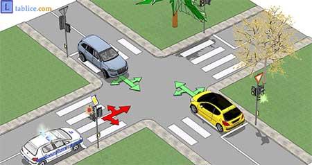 vozilo sa prvenstvom prolaza na semaforu